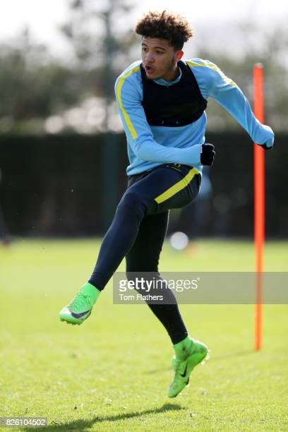 Manchester City's Jadon Sancho in training