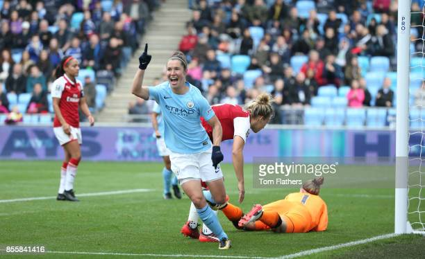 Manchester City's Jane Ross celebrates after scoring the opening goal during the WSL 1 match between Manchester City Women and Arsenal Ladies at...