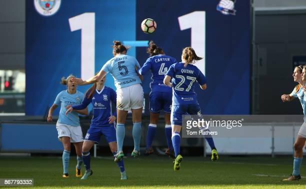 Manchester City's Jennifer Beatie scores to make it 21 during the WSL 1 match between Manchester City Women and Birmingham City Ladies at Manchester...