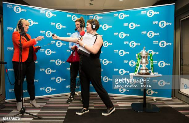 Manchester City's Jennifer Beattie helps with the Women's FA Cup Semi Final Draw along with BBC Radio 5 Live Presenter Sam Walker and Katie Brazier...