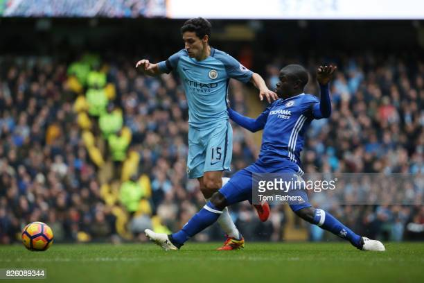 Manchester City's Jesus Navas and Chelsea's N'Golo Kante in action