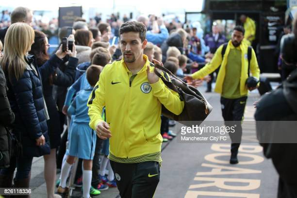 Manchester City's Jesus Navas arrives at the etihad before the Manchester Derby