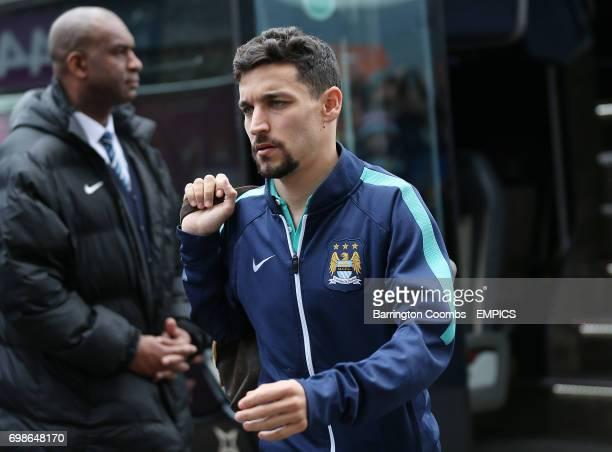 Manchester City's Jesus Navas arrives for the match against Burnley