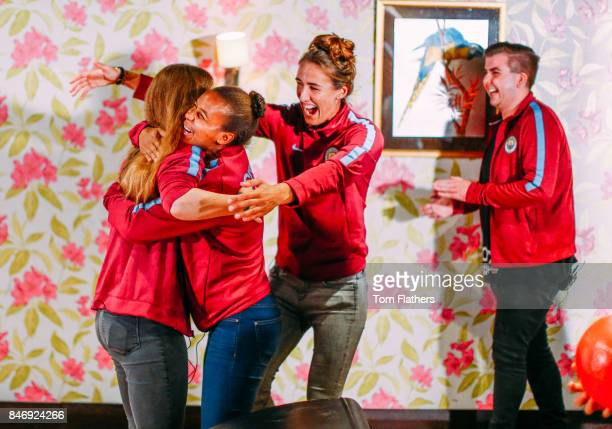 Manchester City's Jill Scott and Nikita Parris on September 5 2017 in Manchester England