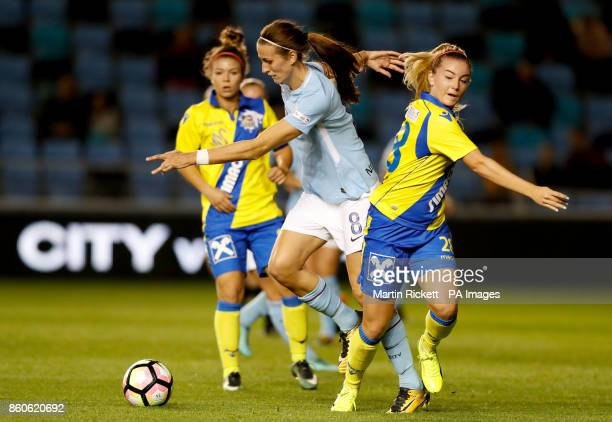 Manchester City's Jill Scott and SKN St Polten Sandrine Sobotka battle for the ball during the UEFA Women's Champions League round of 32 second leg...