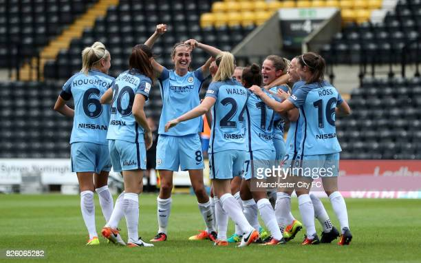 Manchester City's Jill Scott celebrates scoring her side's second goal of the game