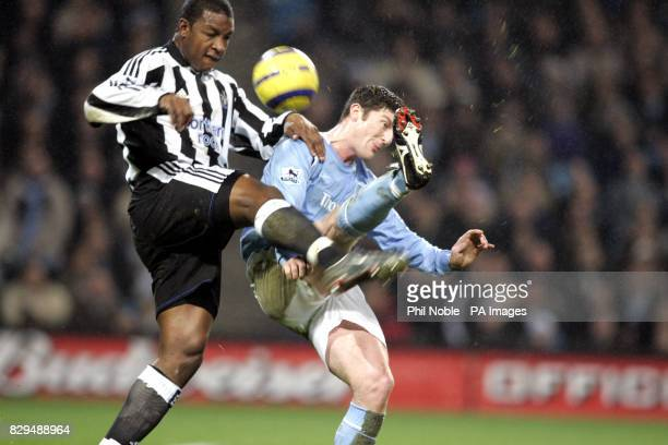 Manchester City's John Macken challenges Newcastle's Titus Bramble