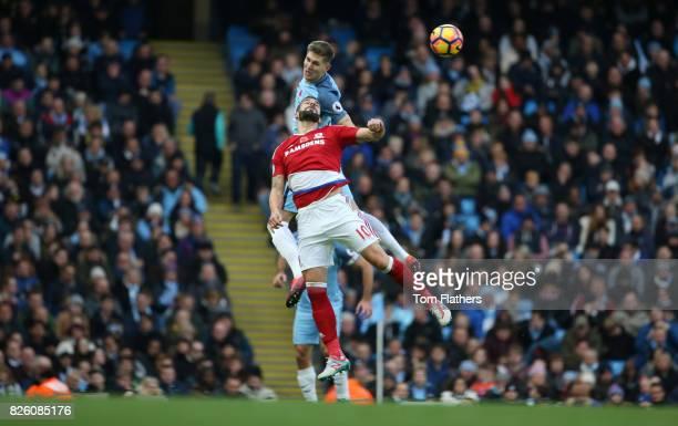 Manchester City's John Stones and Middlesbrough's Alvaro Negredo in action