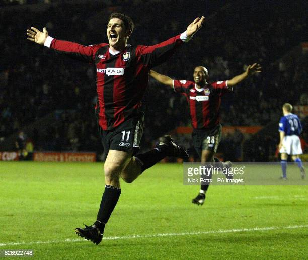 Manchester City's Jonathan Macken celebrates scoring the third goal as Manchester City beat Leicester City 31 during their FA Cup third round replay...