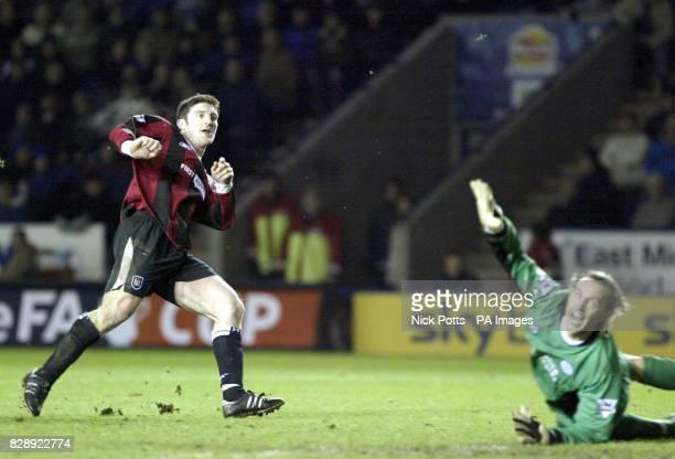 Manchester City's Jonathan Macken scoring their third goal past 'keeper Ian Walker as Manchester City beat Leicester City 31 during their FA Cup...
