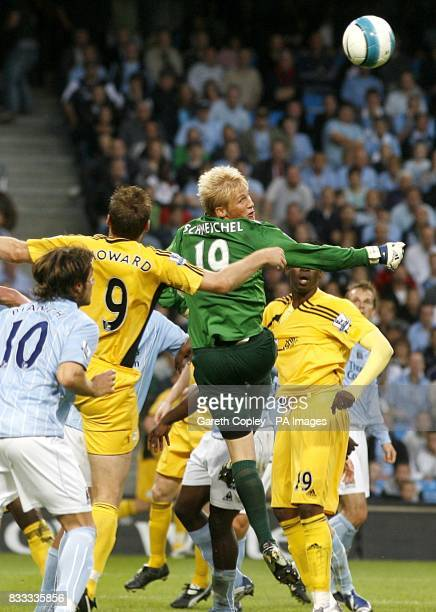 Manchester City's Kasper Schmeichel clears the ball