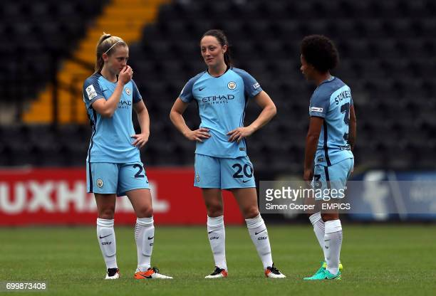 Manchester City's Keira Walsh Megan Campbell and Demi Stokes