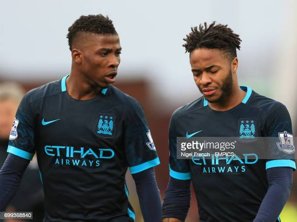 Manchester City's Kelechi Iheanacho and Raheem Sterling appear dejected after their loss against Stoke City