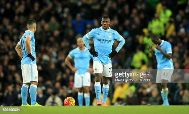 Manchester City's Kelechi Iheanacho and Sergio Aguero look dejected after conceeding a second goal