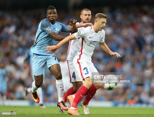 Manchester City's Kelechi Iheanacho and Steaua Bucharest's Bogdan Mitrea battle for the ball