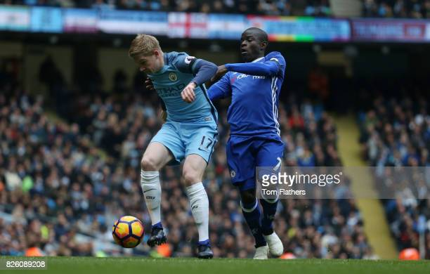Manchester City's Kevin De Bruyne and Chelsea's N'Golo Kante in action