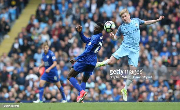 Manchester City's Kevin De Bruyne and Leicester City's Wilfred Ndidi during the Premier League match between Manchester City and Leicester City at...
