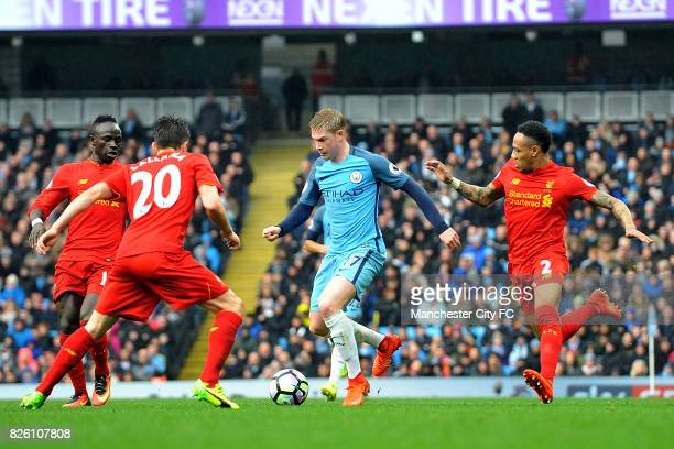 Manchester City's Kevin De Bruyne and Liverpool's Nathaniel Clyne in action during the Barclay's Premiership match at the Etihad Stadium Manchester...