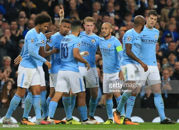 Manchester City's Kevin De Bruyne celebrates his goal against Shakhtar Donetsk during the UEFA Champions League soccer match between Manchester City...