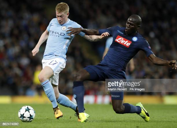 Manchester City's Kevin De Bruyne is brought down by Napoli's Kalidou Koulibaly during the UEFA Champions League group F match at The Etihad Stadium...