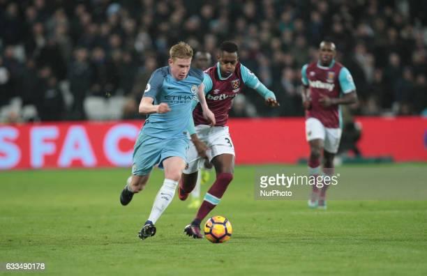 Manchester City's Kevin De Bruyne takes on West Ham United's Edimilson Fernandes during EPL Premier League match between West Ham United against...