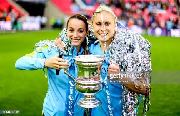 Manchester City's Kosovare Asllani and Steph Houghton celebrate winning the FA Cup