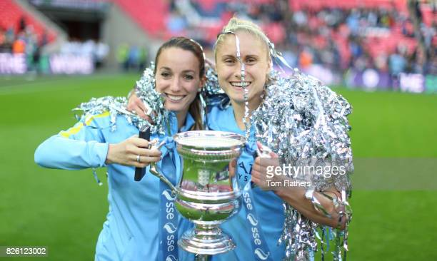 Manchester City's Kosovare Asllani and Steph Houghton celebrates winning the FA Cup