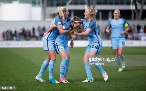 Manchester City's Kosovare Asllani celebrates scoring against Olympique Lyonnais
