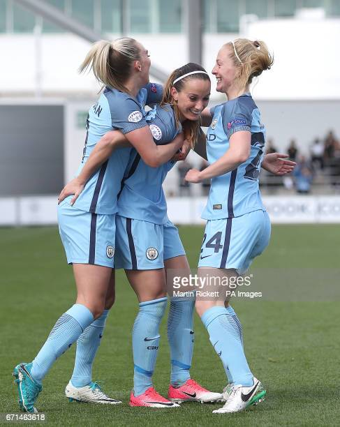 Manchester City's Kosovare Asllani celebrates scoring her team's first goal against Olympique Lyonnais with Toni Duggan and Keira Walsh during the...