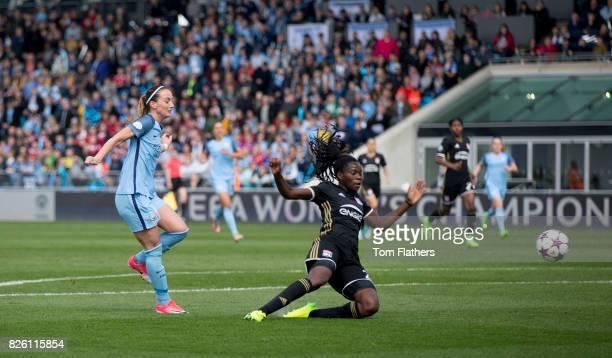 Manchester City's Kosovare Asllani scores against Olympique Lyonnais