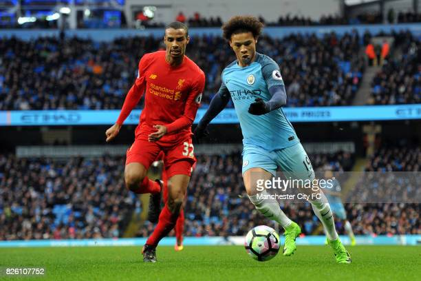 Manchester City's Leroy Sane and Liverpool's Joel Matip in action during the Barclay's Premiership match at the Etihad Stadium Manchester on 19th...
