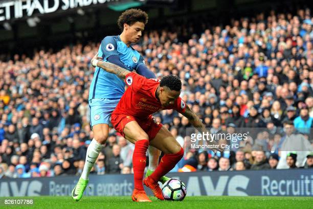 Manchester City's Leroy Sane and Liverpool's Nathaniel Clyne in action during the Barclay's Premiership match at the Etihad Stadium Manchester on...