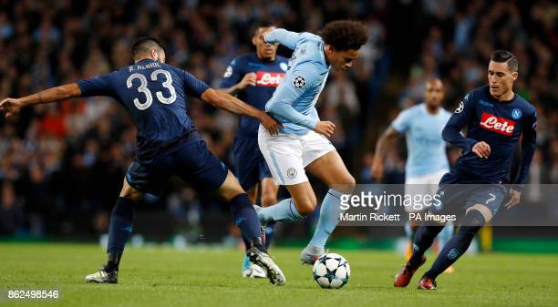 Manchester City's Leroy Sane and Napoli's Raul Albiol battle for the ball during the UEFA Champions League group F match at The Etihad Stadium...