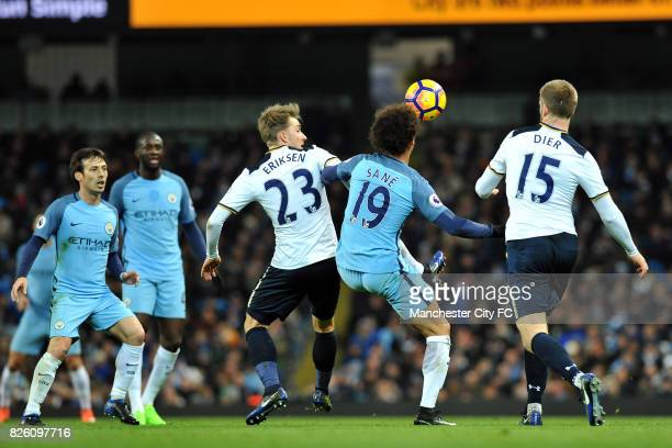 Manchester City's Leroy Sane and Tottenham Hotspur's Christian Eriksen and Eric Dier in action during the Premiership match at the Etihad Stadium...