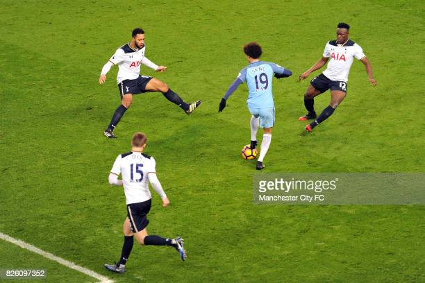 Manchester City's Leroy Sane and Tottenham Hotspur's Eric Dier Mousa Dembele and Victor Wanyama in action during the Premiership match at the Etihad...