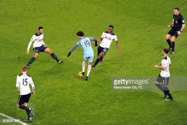 Manchester City's Leroy Sane and Tottenham Hotspur's Eric Dier Mousa Dembele Victor Wanyama and Kyle Walker in action during the Premiership match at...