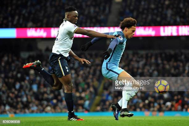 Manchester City's Leroy Sane and Tottenham Hotspur's Victor Wanyama in action during the Premiership match at the Etihad Stadium Manchester on 21st...