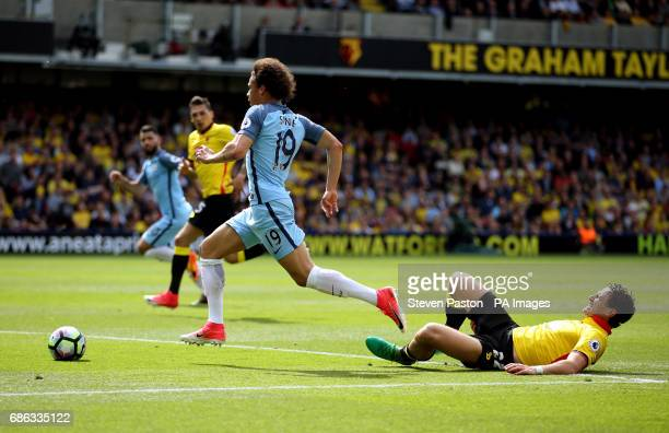 Manchester City's Leroy Sane bursts through during the Premier League match at Vicarage Road Watford