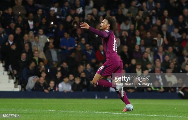 Manchester City's Leroy Sane celebrates scoring his side's second goal of the game during the Carabao Cup Third Round match at The Hawthorns West...