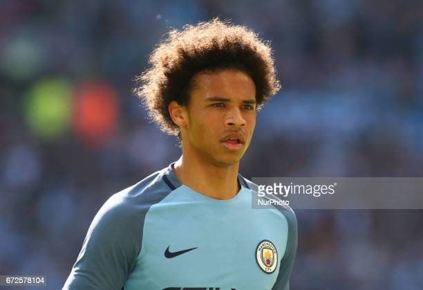 Manchester City's Leroy Sane during The Emirates FA Cup SemiFinal match between Arsenal and Manchester City at Wembley Stadium London 23 April 2017