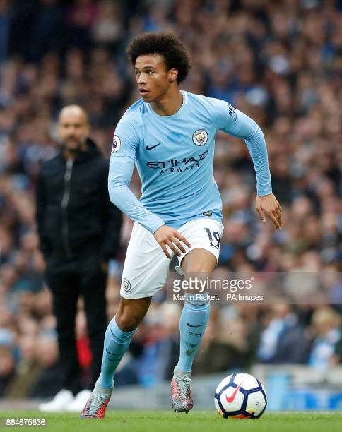 Manchester City's Leroy Sane during the Premier League match at the Etihad Stadium Manchester