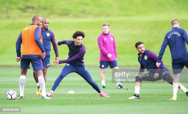 Manchester City's Leroy Sane during training at Manchester City Football Academy on August 18 2017 in Manchester England