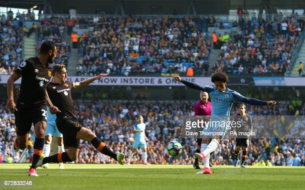 Manchester City's Leroy Sane ha a shot on goal during the Premier League match at the Etihad Stadium Manchester