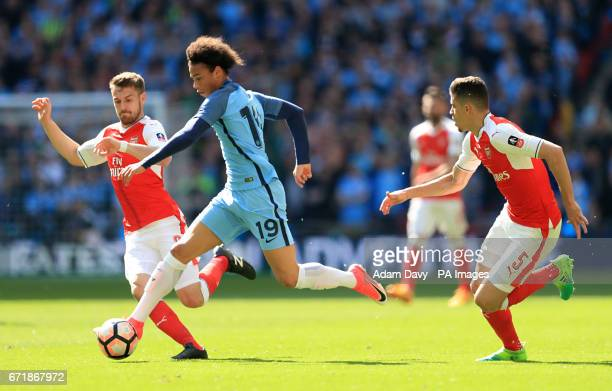 Manchester City's Leroy Sane in action during the Emirates FA Cup Semi Final match at Wembley Stadium London