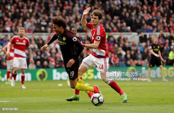 Manchester City's Leroy Sane is fouled in the penalty area by Middlesbrough's Marten de Roon during the Premier League match at the Riverside Stadium...