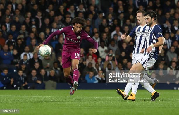 Manchester City's Leroy Sane scores his side's second goal of the game during the Carabao Cup Third Round match at The Hawthorns West Bromwich Albion