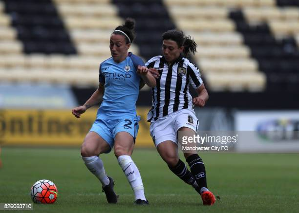 Manchester City's Lucy Bronze and Notts County's Rachel Williams battle for the ball