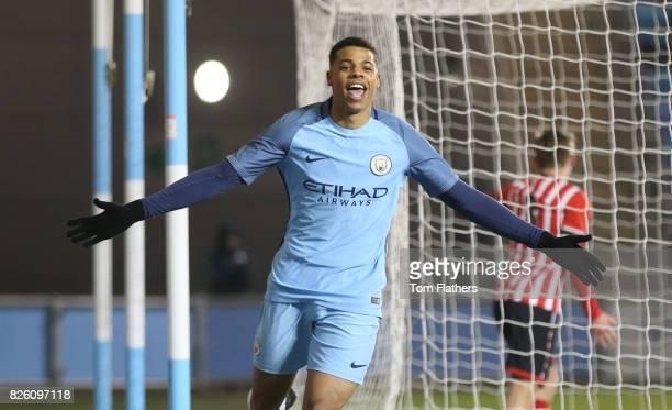 Manchester City's Lukas Nmecha celebates scoring against Southampton