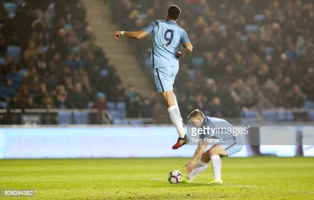Manchester City's Lukas Nmecha celebrates scoring against Liverpool in the FA Youth Cup