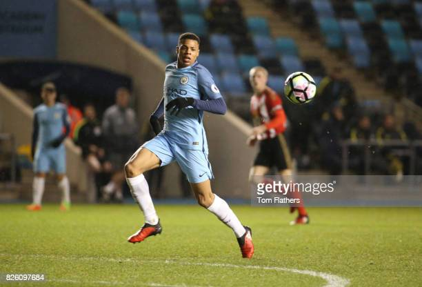 Manchester City's Lukas Nmecha in action against Sunderland